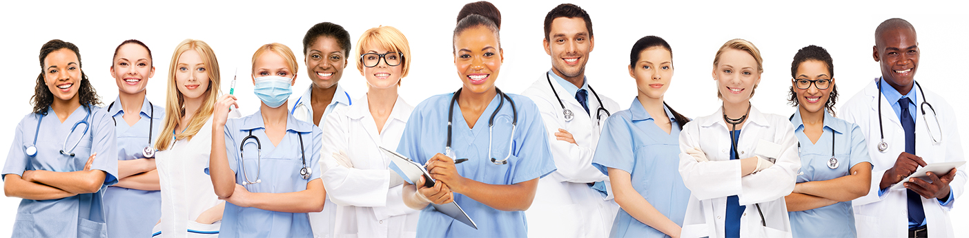 A group of doctors and nurses smile happily