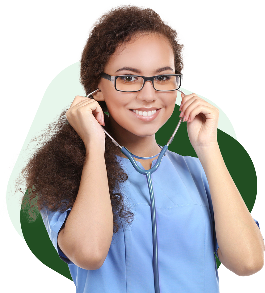 A nurse smiles while adjusting her stethoscope