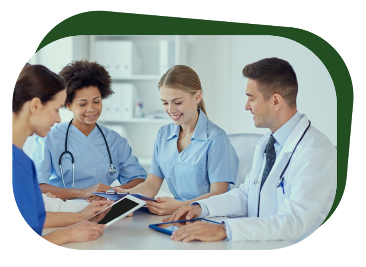A doctor and three nurses discuss a report
